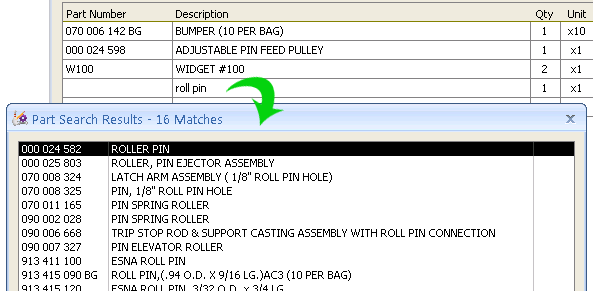 select part for purchase order